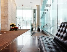 an image of a modern office waiting room with ramped entrance