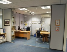 An image showing an office partitioning, helping to enhance space and light