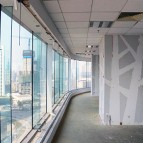 an image of the internal support beams of an office refurbishment project within a skyscraper