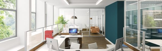 An image showing an office with office partitions which help to create an interesting design and dynamic to the environment