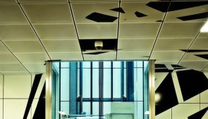 an image of a suspended ceiling with a graphic pattern