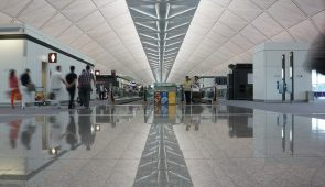 image of the suspended ceiling at hong kong airport